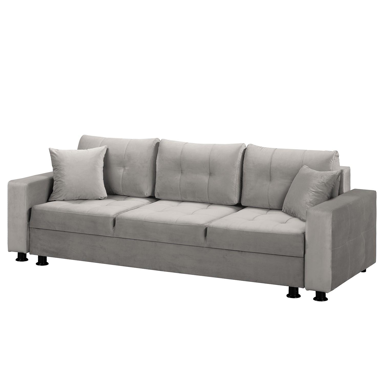 home24 Fredriks Schlafsofa Upwell II Grau 100% Polyester 236x72x96 cm (BxHxT) mit Schlaffunktion/Bettkasten Modern