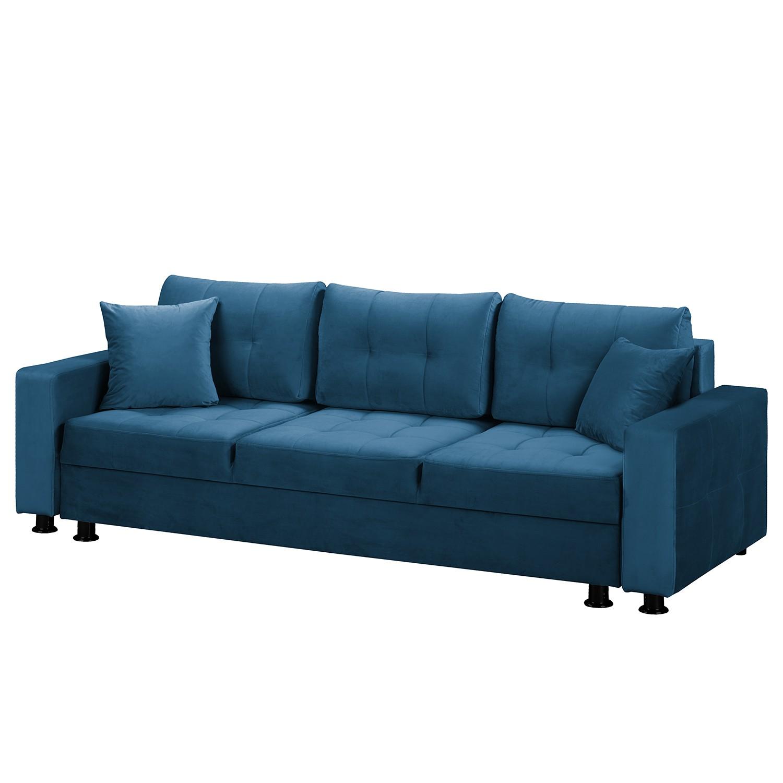 home24 Fredriks Schlafsofa Upwell II Marineblau 100% Polyester 236x72x96 cm (BxHxT) mit Schlaffunktion/Bettkasten Modern