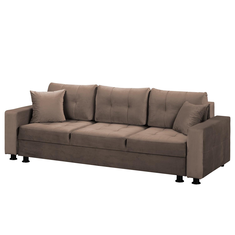 home24 Fredriks Schlafsofa Upwell II Braun 100% Polyester 236x72x96 cm (BxHxT) mit Schlaffunktion/Bettkasten Modern