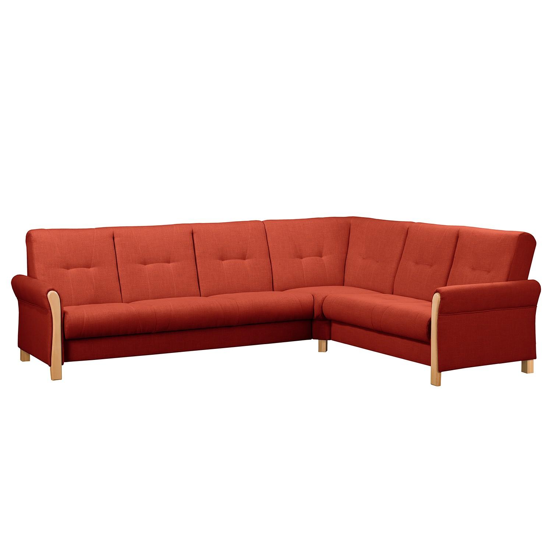 home24 Fredriks Ecksofa Outwell Koralle 100% Polyester 305x108x240 cm (BxHxT) mit Schlaffunktion Modern