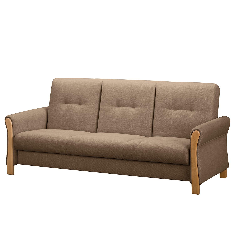 home24 Fredriks Schlafsofa Outwell II Braun 100% Polyester 220x100x85 cm (BxHxT) mit Schlaffunktion/Bettkasten Modern
