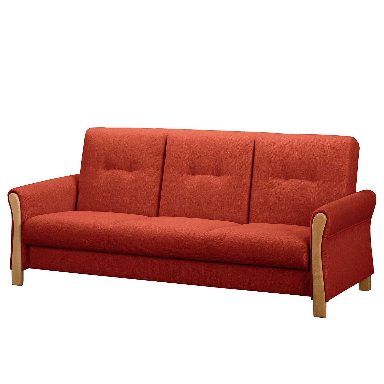 home24 Fredriks Schlafsofa Outwell II Koralle 100% Polyester 220x100x85 cm (BxHxT) mit Schlaffunktion/Bettkasten Modern