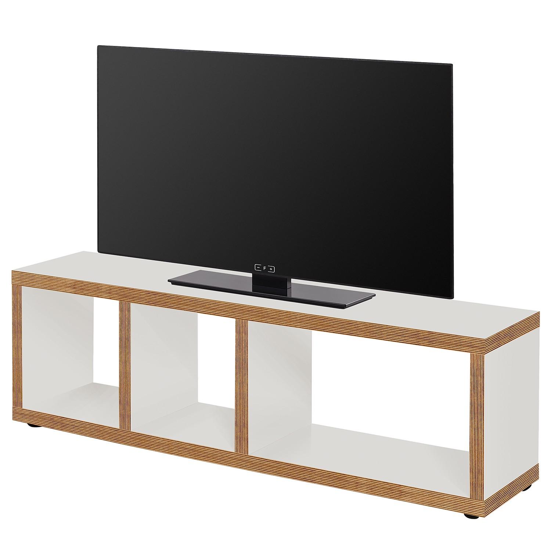 home24 temahome TV-Lowboard Berlin Weiß/Braun Wabenplatte 150x45x34 cm (BxHxT) Modern