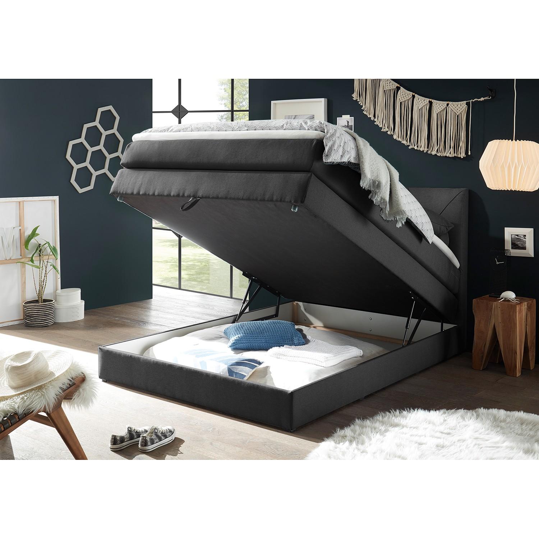 home24 loftscape Boxspringbett Griggs 140x200 cm Webstoff Schwarz mit Bettkasten/Matratze/Topper Modern