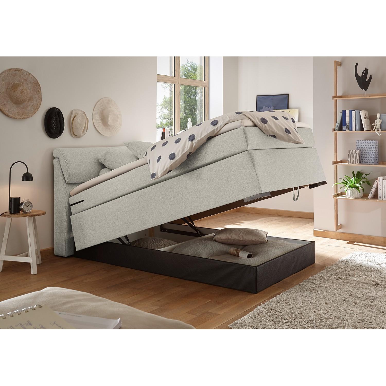 home24 loftscape Boxspringbett Kapaa 120x200 cm Webstoff Sand mit Bettkasten/Matratze/Topper Modern