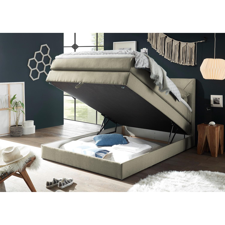 home24 loftscape Boxspringbett Griggs 120x200 cm Webstoff Schlamm mit Bettkasten/Matratze/Topper Modern
