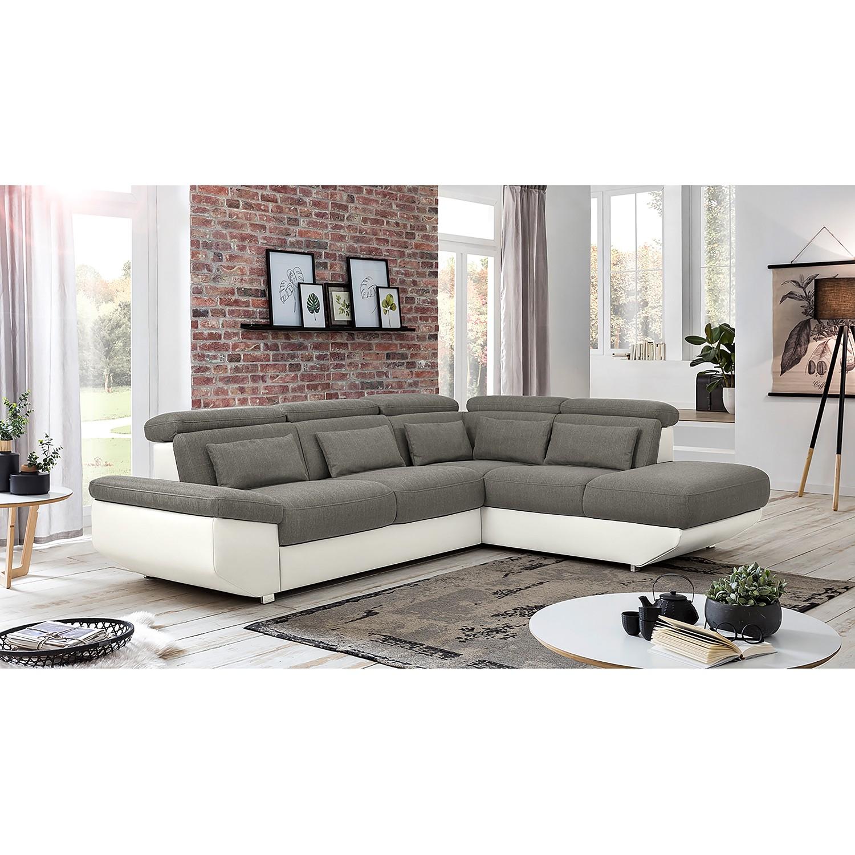 home24 Fredriks Ecksofa Athol Weiß/Grau Strukturstoff 283x80x222 cm mit Schlaffunktion und Bettkasten
