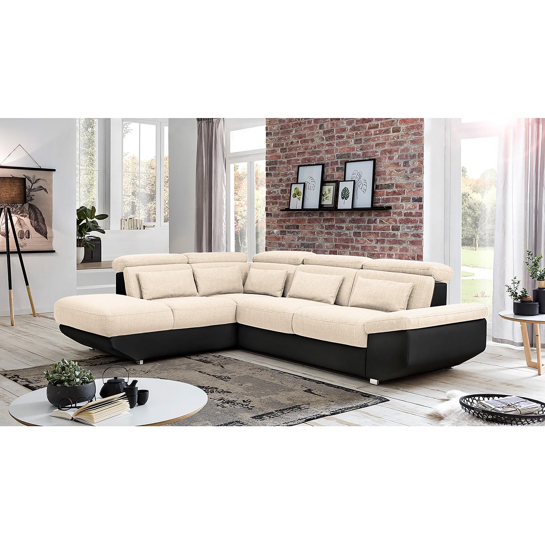 home24 Fredriks Ecksofa Athol Schwarz/Creme Strukturstoff 283x80x222 cm mit Schlaffunktion und Bettkasten