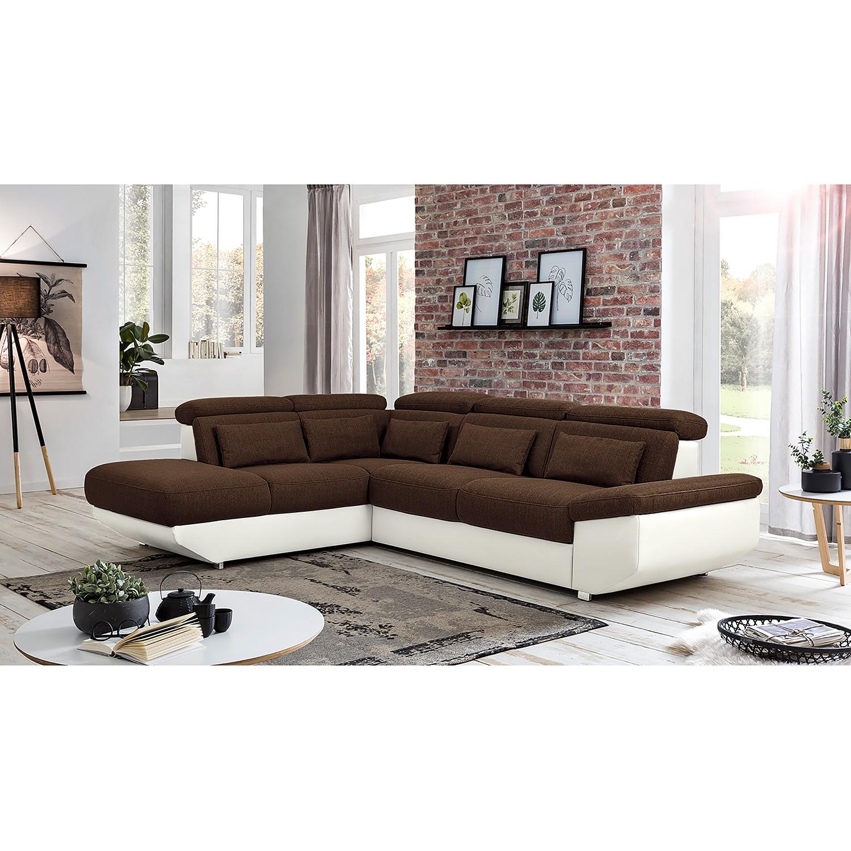 home24 Fredriks Ecksofa Athol Schwarz/Braun Strukturstoff 283x80x222 cm mit Schlaffunktion und Bettkasten