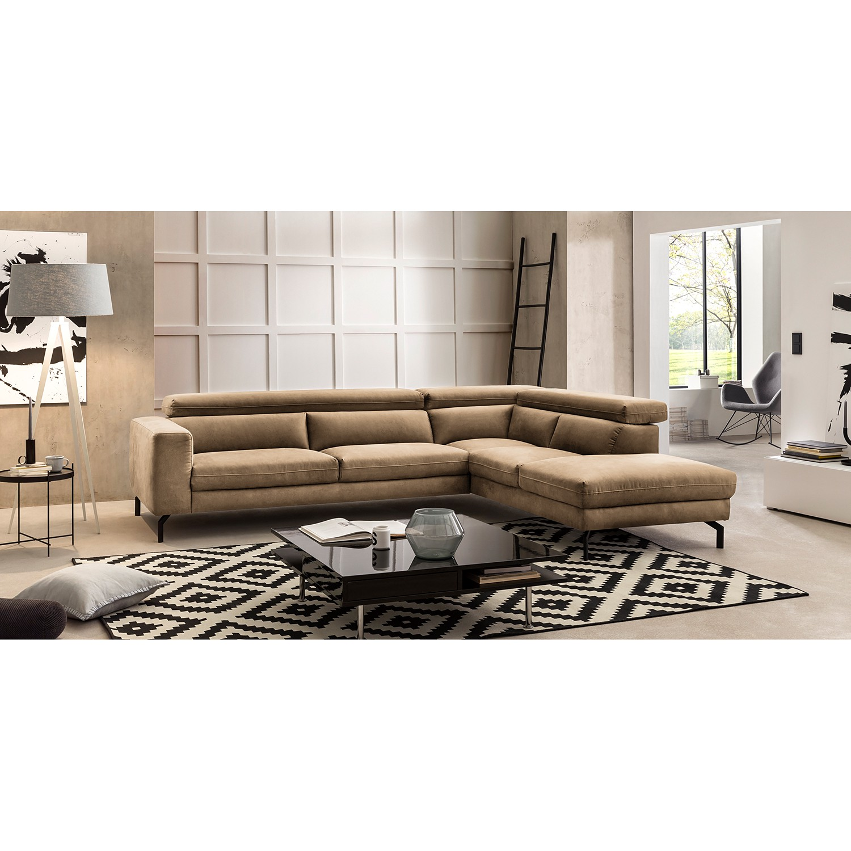 home24 Fredriks Ecksofa Brodi Cappuccino Microfaser 305x76x233 cm
