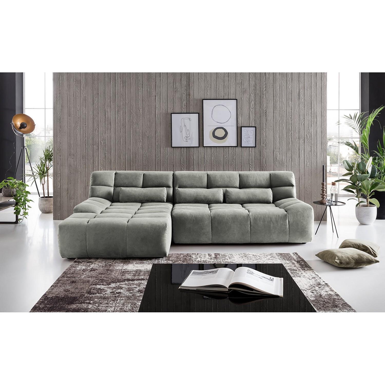 home24 loftscape Ecksofa Hanko Platin Microfaser 273x80x177 cm