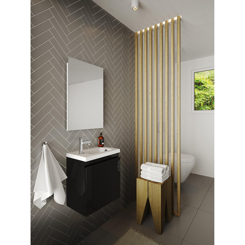 Badkamermeubel Porto Pack Rechts 40x25x51cm MDF Hoogglans Zwart Polybeton Wastafel 1 Kraangat Overloop met Spiegel online kopen