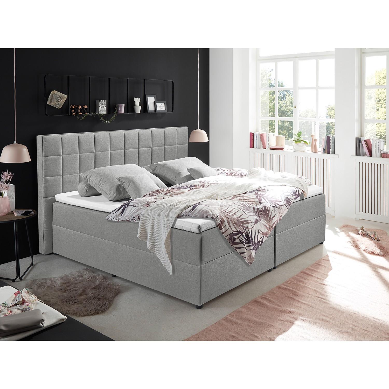 home24 loftscape Polsterbett Loiz 160x200 cm Webstoff Grau mit Bettkasten/Kaltschaumtopper Modern