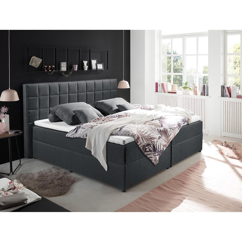 home24 loftscape Polsterbett Loiz 180x200 cm Webstoff Anthrazit mit Bettkasten/Kaltschaumtopper Modern