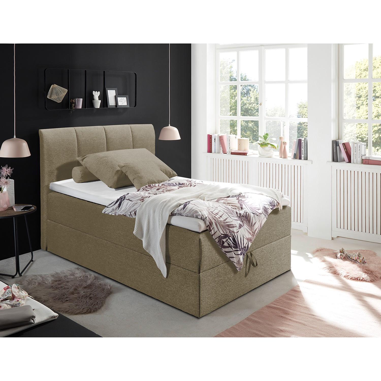 home24 loftscape Polsterbett Lofou 120x200 cm Webstoff Schlamm mit Bettkasten/Topper Modern