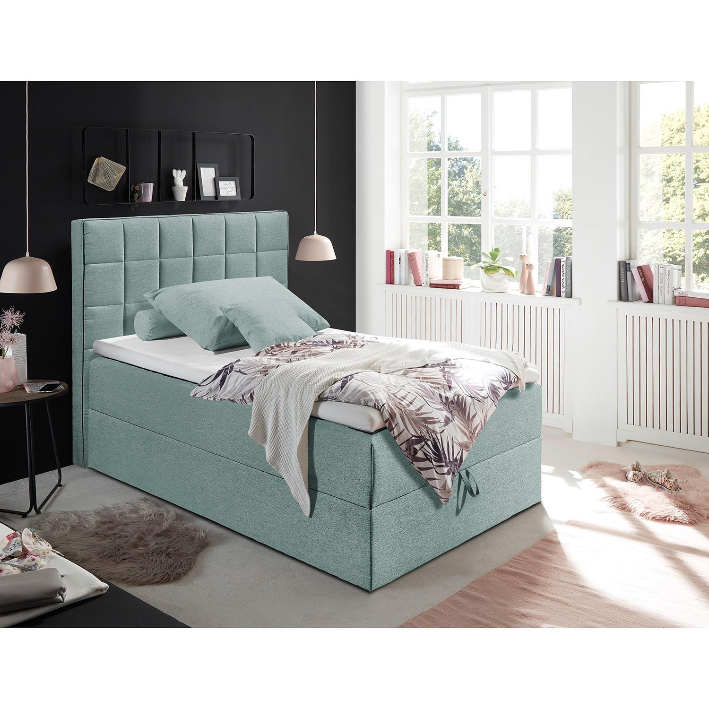 home24 loftscape Polsterbett Loiz 120x200 cm Webstoff Pastellblau mit Bettkasten/Kaltschaumtopper Modern