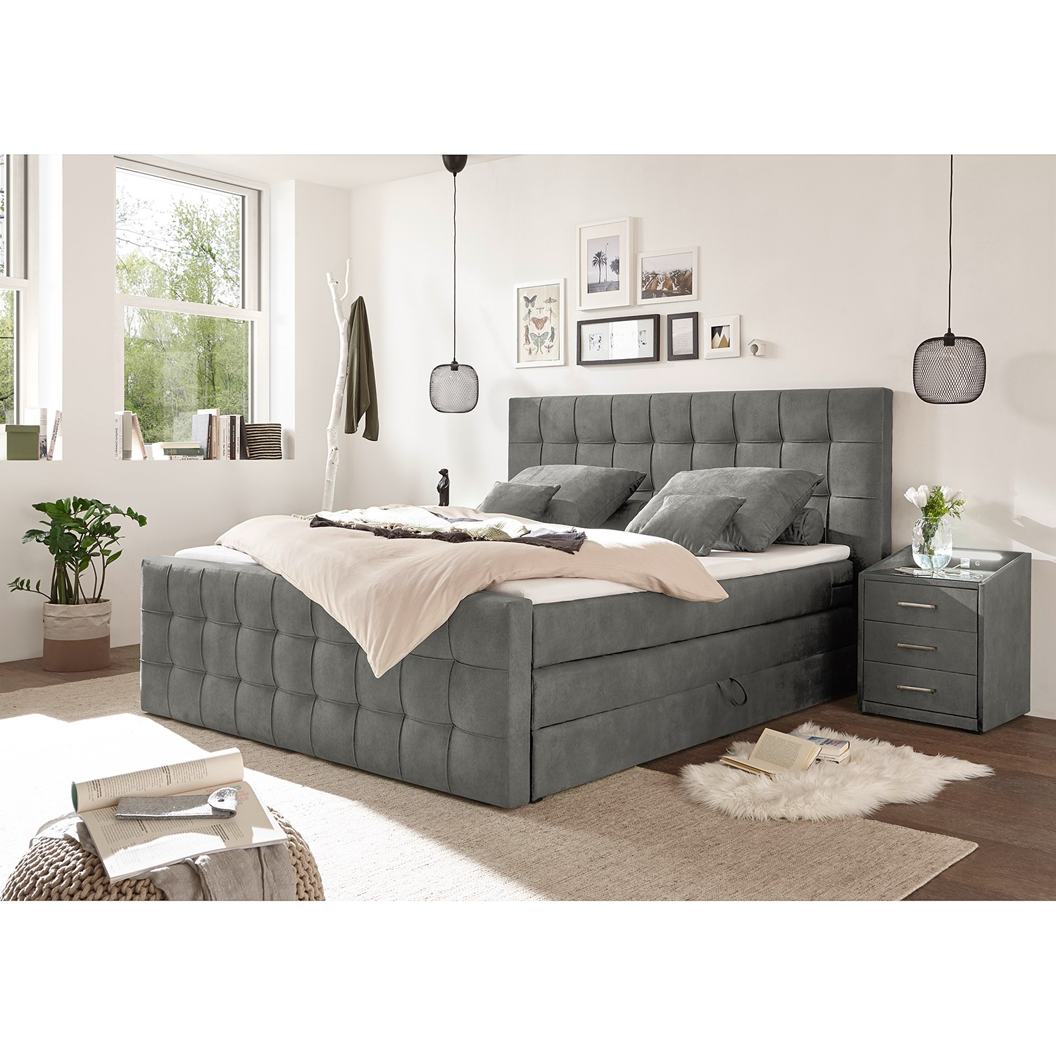 *Boxspringbett Bellwood 180×200 cm Anthrazit mit Bettkasten LOFTSCAPE*