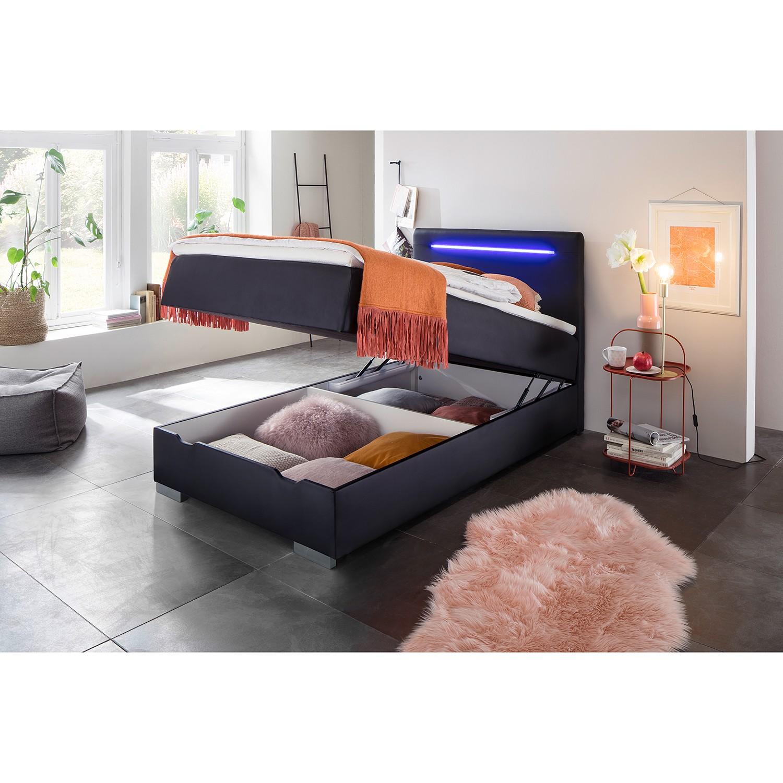 home24 meise.möbel Boxspringbett Las Vegas I 120x200 cm Kunstleder Schwarz mit Bettkasten/Beleuchtung/Matratze/Topper Modern