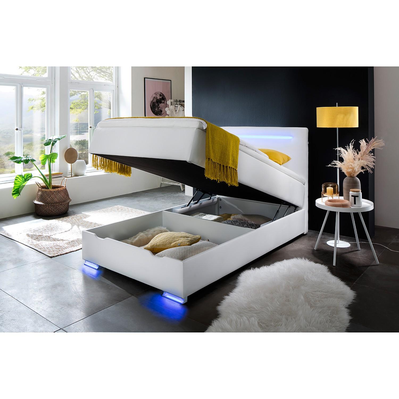 home24 meise.möbel Boxspringbett Las Vegas II 120x200 cm Kunstleder Weiß mit Bettkasten/Beleuchtung/Matratze/Topper Modern
