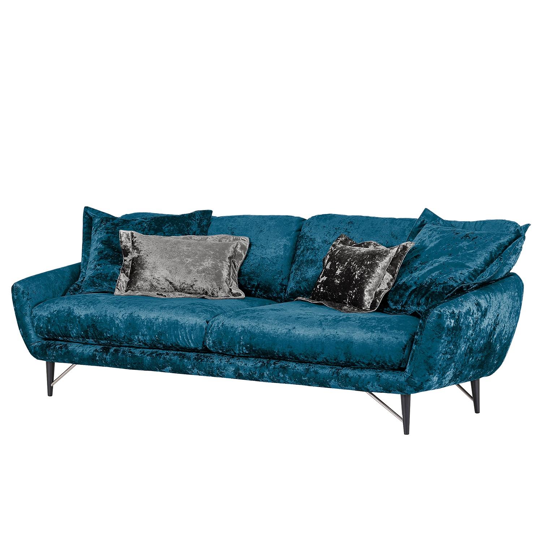 home24 Velvet Studio Bigsofa Chaplin Blau Flachgewebe 235x68x113 cm