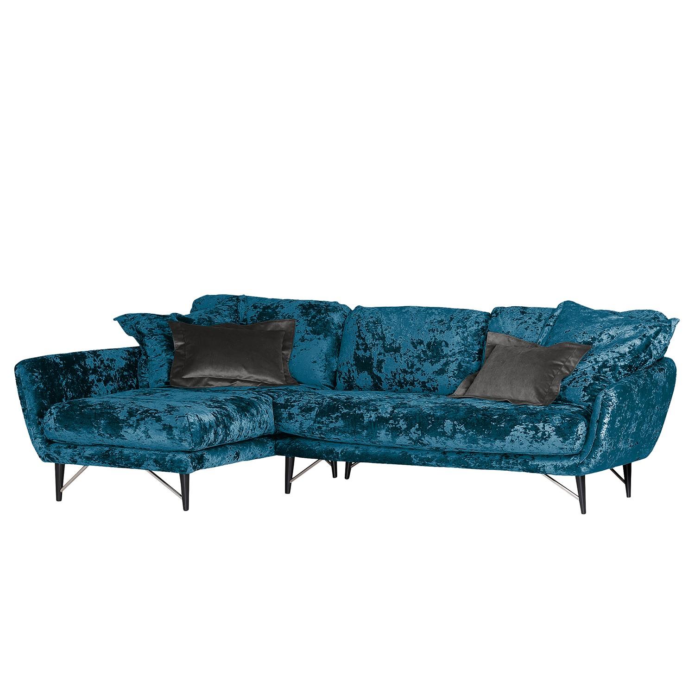 home24 Velvet Studio Ecksofa Chaplin Blau Flachgewebe 275x68x178 cm