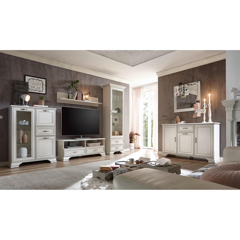 home24 Ridgevalley TV-Lowboard Covedale Weiß Spanplatte 130x51x38 cm (BxHxT) Landhaus 2 Schubladen
