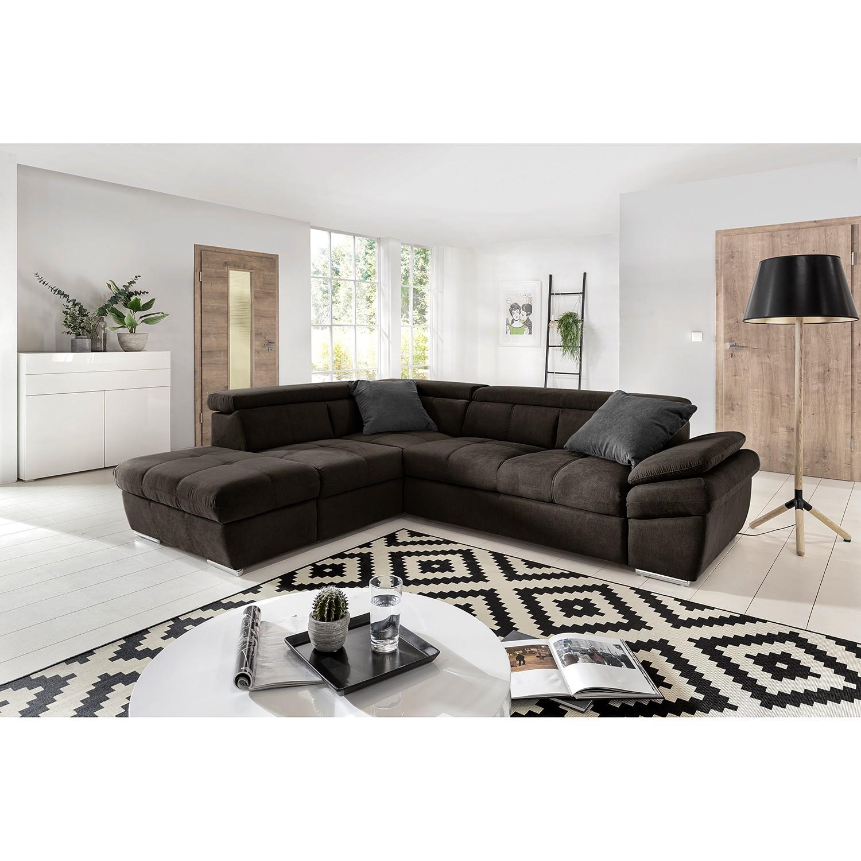 home24 Fredriks Ecksofa Barvas I Dunkelgrau Strukturstoff 217x78x265 cm mit Schlaffunktion und Bettkasten