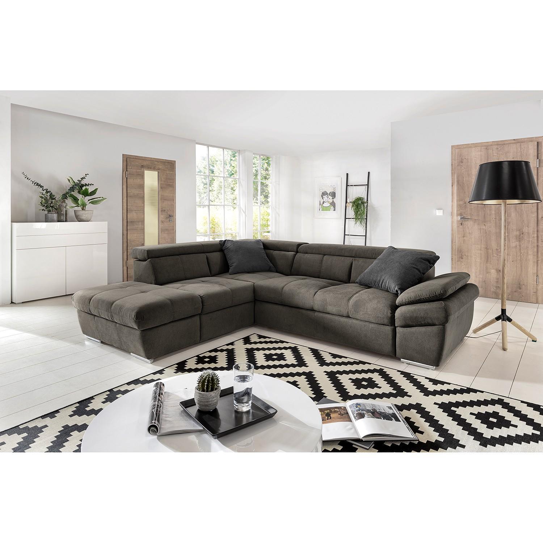 home24 Fredriks Ecksofa Barvas I Grau Strukturstoff 217x78x265 cm mit Schlaffunktion und Bettkasten