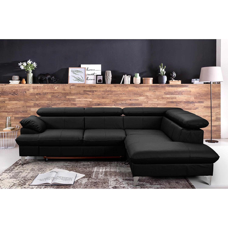 home24 Fredriks Ecksofa Coto I Schwarz Echtleder 256x71x208 cm (BxHxT) mit Schlaffunktion/Bettkasten Modern