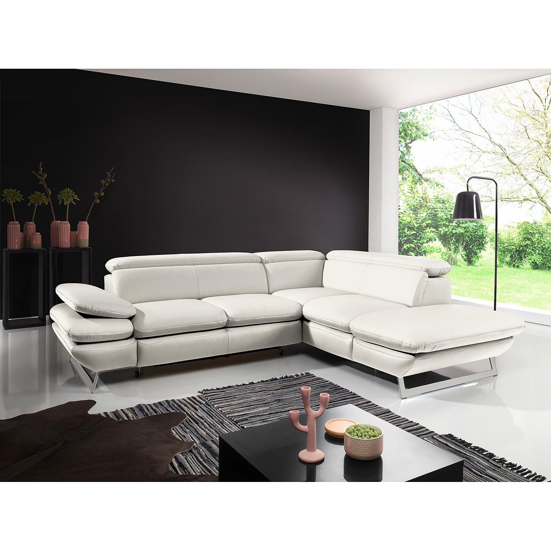 home24 Fredriks Ecksofa Graford II Weiß Kunstleder 265x74 cm (BxH) mit Schlaffunktion Modern
