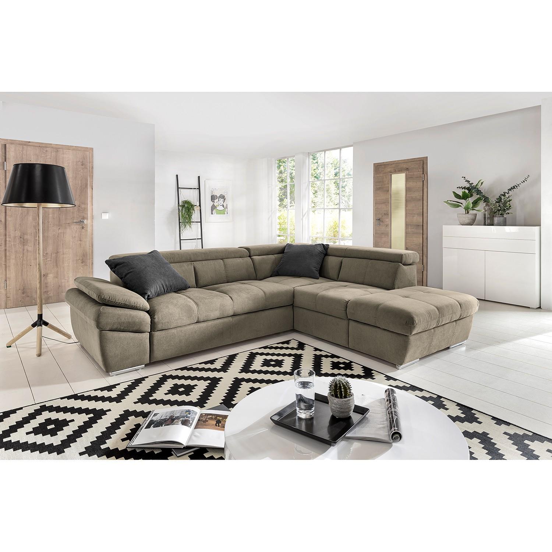 home24 Fredriks Ecksofa Barvas I Hellgrau Strukturstoff 265x78x217 cm mit Schlaffunktion und Bettkasten