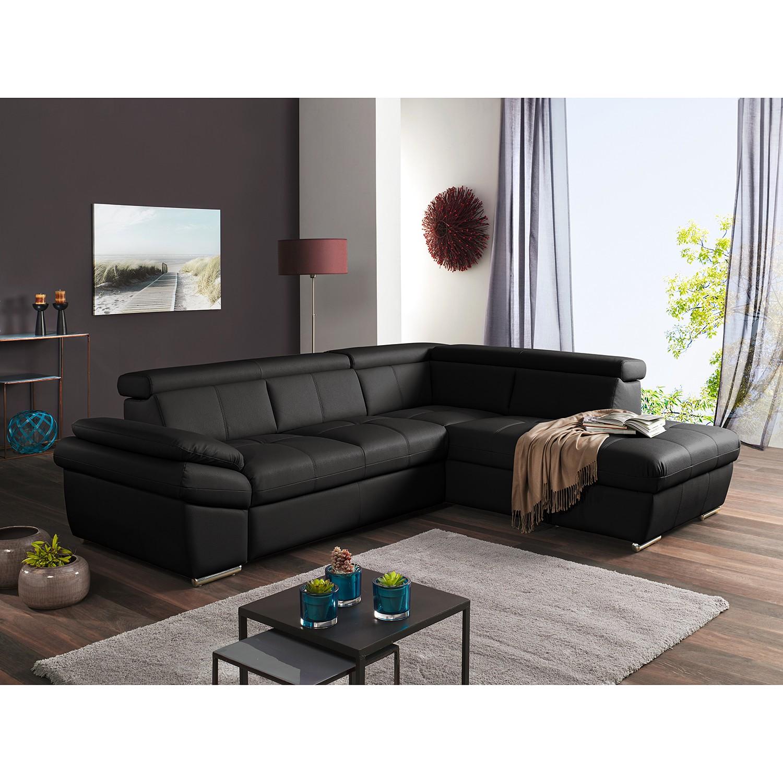 home24 Fredriks Ecksofa Barvas II Schwarz Kunstleder 265x78 cm (BxH) mit Schlaffunktion/Bettkasten Modern