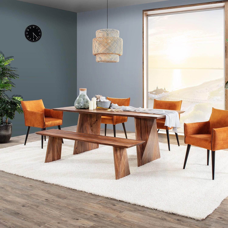 home24 ars manufacti Esstisch Tebay Massivholz Sheesham Rechteckig 200x76x100 cm (BxHxT) Boho