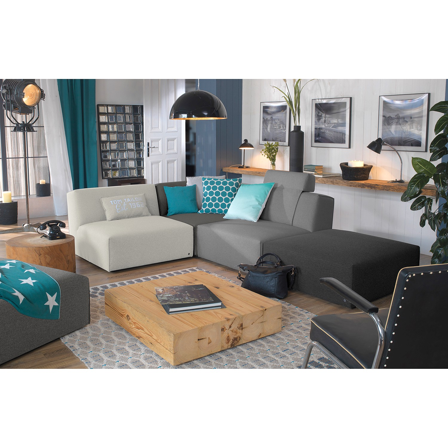 home24 Tom Tailor Ecksofa Elements II Grau 100% Polyester 287x70x287 cm (BxHxT) Modern