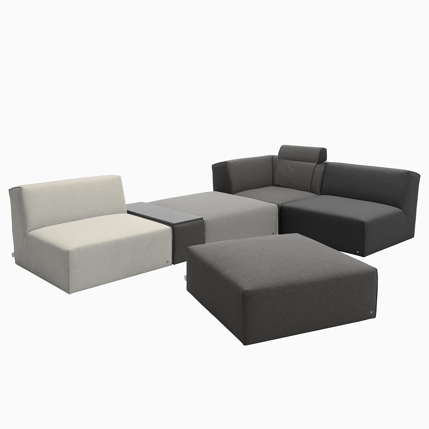 home24 Tom Tailor Ecksofa Elements V Grau 100% Polyester 322x88x193 cm (BxHxT) Modern