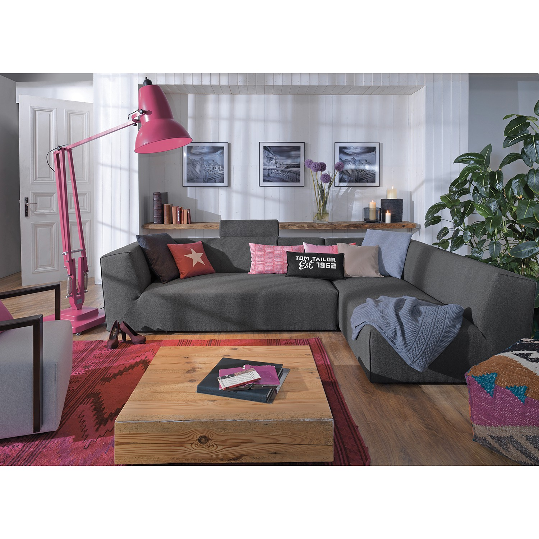 home24 Tom Tailor Ecksofa Elements VII Anthrazit 100% Polyester 190x190 cm (TxH) Modern