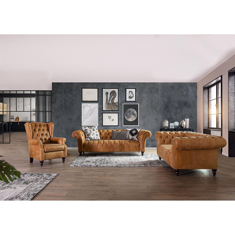 home24 Naturoo Bigsofa Boyce Cognac Echtleder 230x74x101 cm