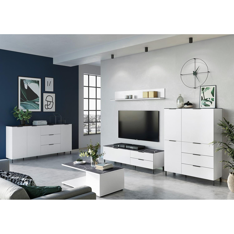 home24 Germania TV-Lowboard California I Weiß/Marmor Grau Dekor Spanplatte 164x47x47 cm (BxHxT) Modern 2 Schubladen