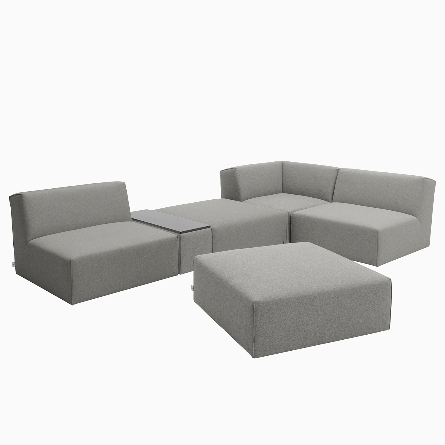 home24 Tom Tailor Ecksofa Elements XI Granit 100% Polyester 322x70x193 cm (BxHxT) Modern