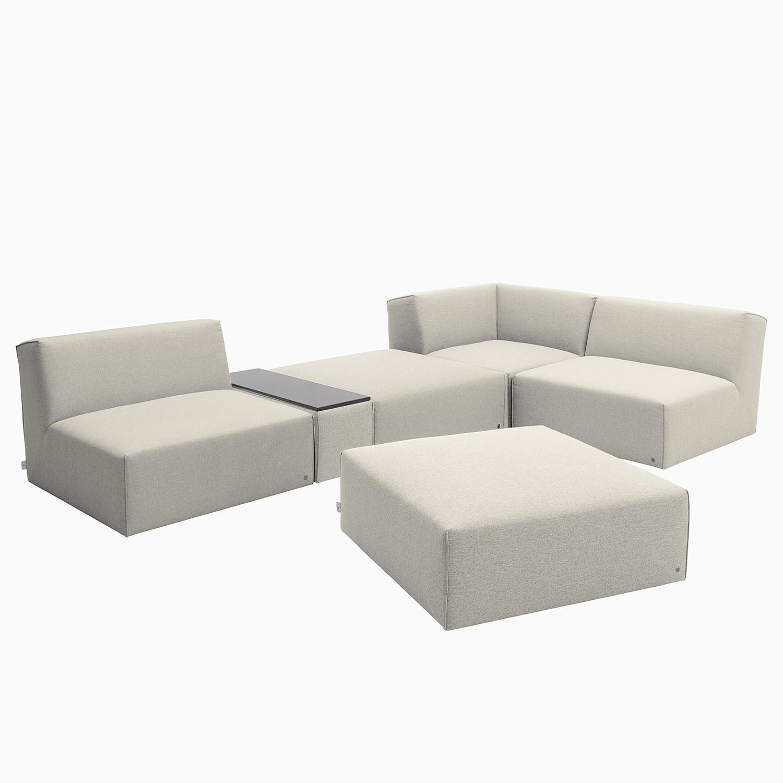 home24 Tom Tailor Ecksofa Elements XI Hellbeige 100% Polyester 322x70x193 cm (BxHxT) Modern