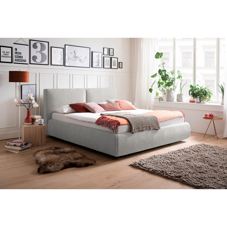 home24 meise.möbel Polsterbett Atesio III 180x200 cm 90% Polyester/10% Baumwolle hellgrau mit Bettkästen/Lattenrost/Matratze