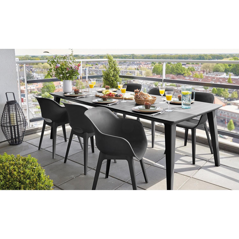 home24 Best Freizeitmöbel Gartentisch Bari Polypropylen 157x74x98 cm (BxHxT) Anthrazit Modern