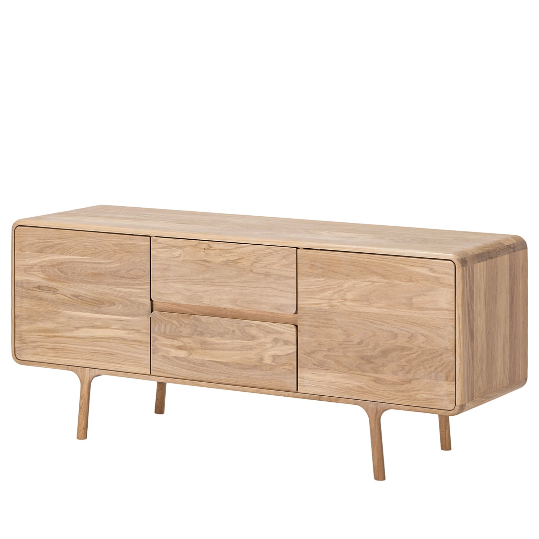 home24 Gazzda Sideboard Fawn III Massivholz Eiche 150x65x45 cm (BxHxT) Skandi 2-türig 2 Schubladen