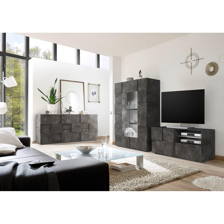 home24 LC Spa TV-Lowboard Dama I Graphit Spanplatte 122x57x42 cm (BxHxT) Modern 1-türig 1 Schublade