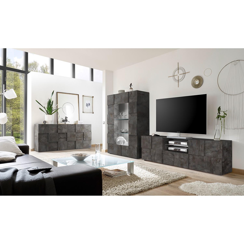 home24 LC Spa TV-Lowboard Dama II Graphit Spanplatte 181x57x42 cm (BxHxT) Modern 2-türig 1 Schublade