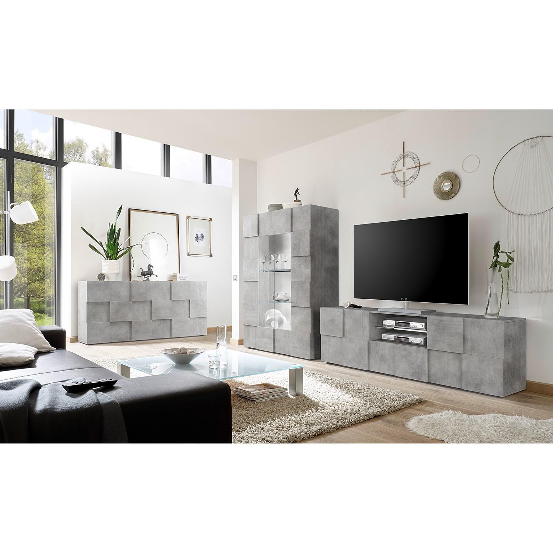 home24 LC Spa TV-Lowboard Dama II Beton Dekor Spanplatte 181x57x42 cm (BxHxT) Modern 2-türig 1 Schublade