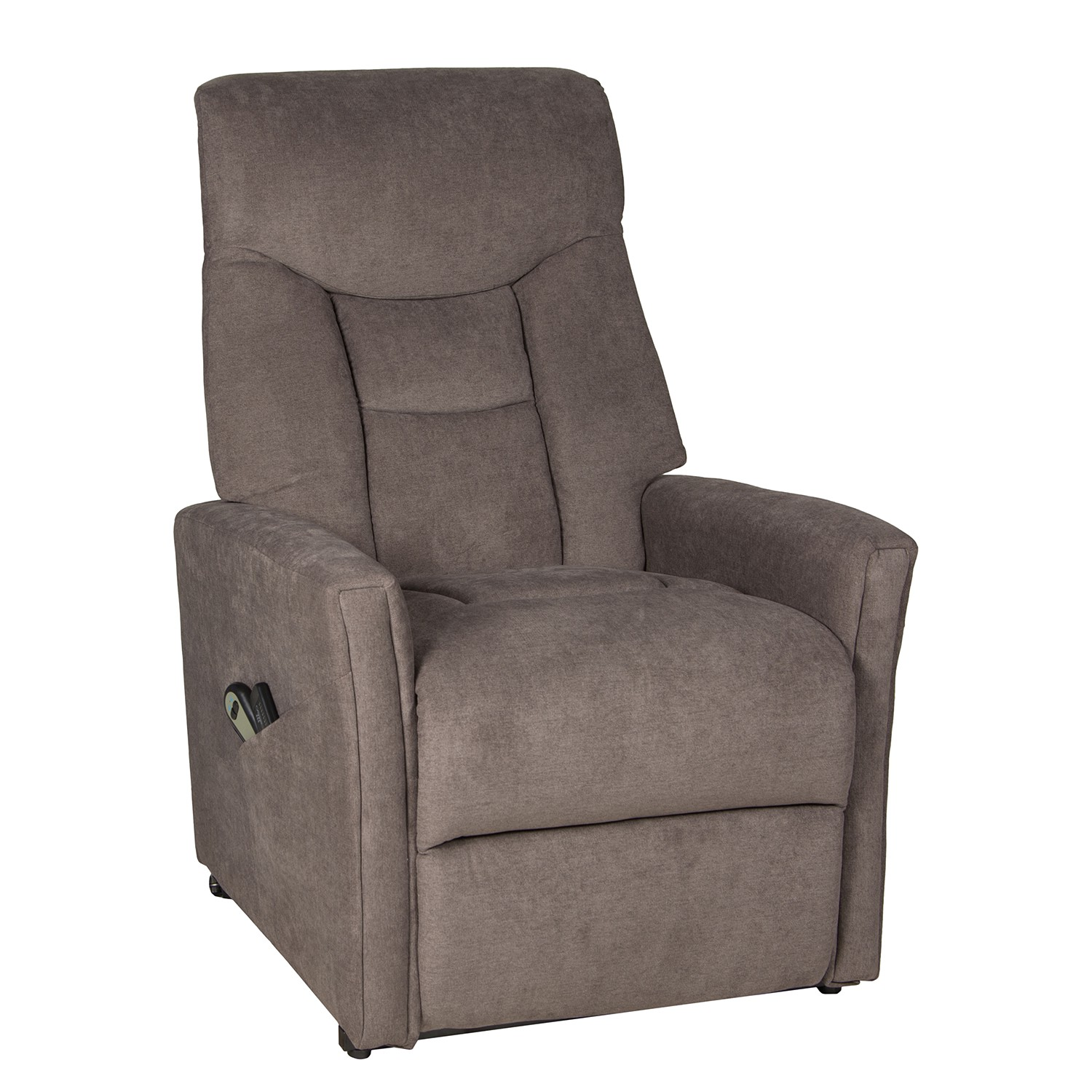 home24 Duo Collection Relaxsessel Lozari Taupe Microfaser mit Relaxfunktion/Massagefunktion/Aufstehhilfe 80x116x86 cm (BxHxT)