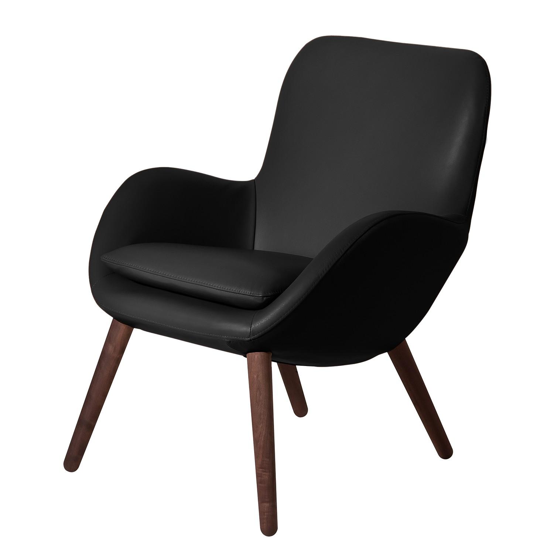 home24 Mørteens Sessel Ullava I Schwarz Echtleder 67x83x74 cm (BxHxT)