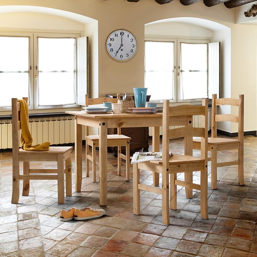 home24 Essgruppe Fica Rustica (5-teilig) | Küche und Esszimmer > Essgruppen > Essgruppen | Beige | Maison Belfort