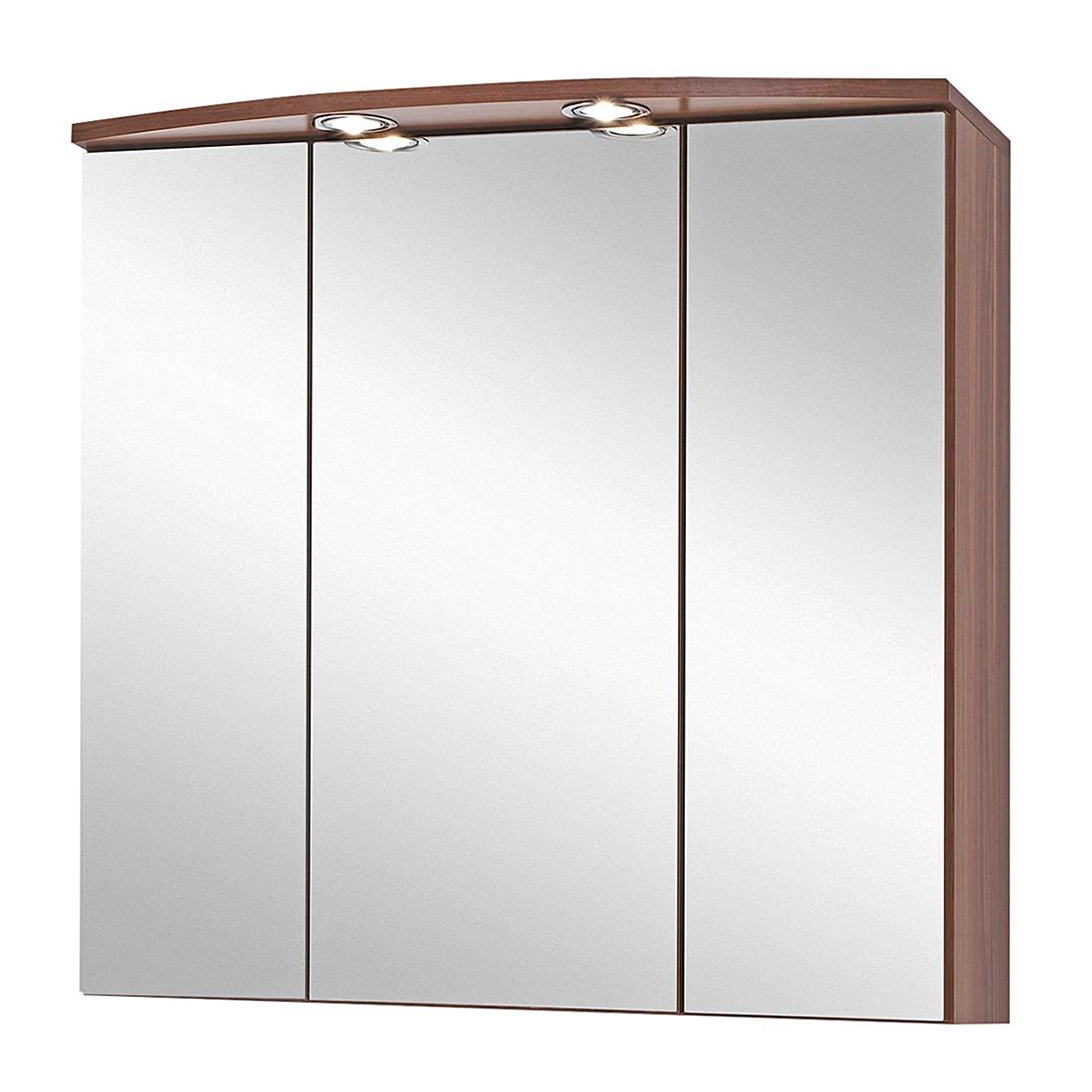 EEK A+, Armoire à miroir 3D Marino - Imitation noyer, Giessbach